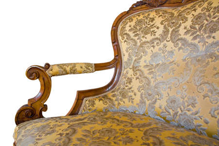Detail of an antique traditional wooden italian furniture just restored with floral decorations