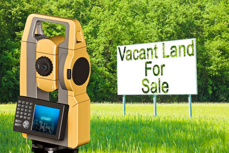 Advertising billboard in a rural scene with Vacant Land for Sale written on it and and 3D rendering of a geodesic device, called Total Station used for the survey of topographic maps and topographical survey.