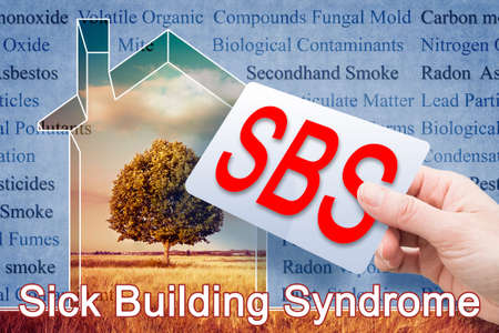 Sick Building Syndrome concept image with he most common dangerous domestic pollutants we can find in our homes which cause poor indoor air quality and chronic disease.
