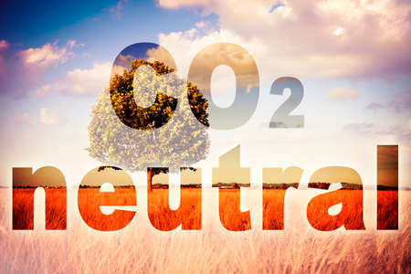 CO2 Neutral text - concept image against a rural scene.