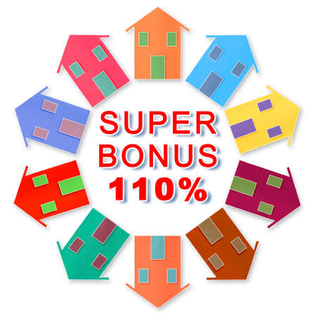 110% state bonus, called Super Bonus 110%, and money concession for the construction of building works to improve the thermal efficiency of buildings - concept image.