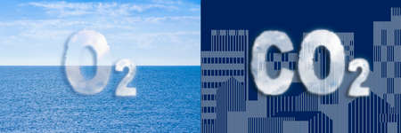O2 versus CO2 - concept image with an imaginary cityscape and calm sea.