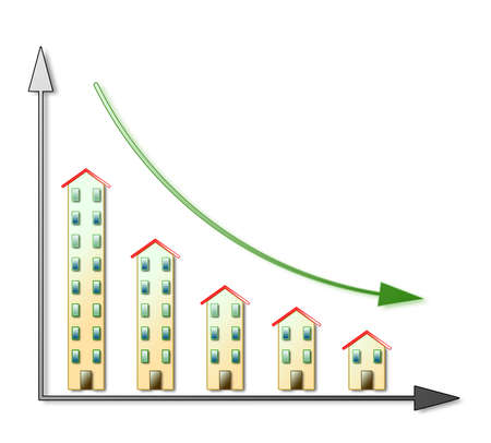 Down of the housing market - real estate market concept on white background