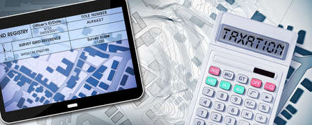 Land registry concept image with an imaginary cadastral map of territory - Property Tax on buildings with land and buildings cadastre with land registry document, digital tablet and calculator - 3D rendering.