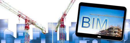 Building Information Modeling - BIM - a new way of architecture designing - concept with tower crane in a construction site with city skyline on background.