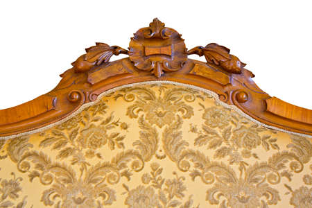 Detail of an antique traditional wooden italian furniture just restored with floral decorations. Banque d'images