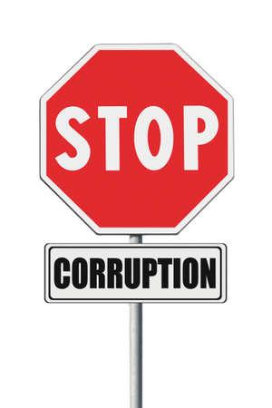 Stop corruption concept. Stop corruption written on signpost on white background Archivio Fotografico