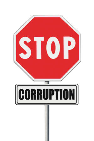 Stop corruption concept. Stop corruption written on signpost on white background Stock Photo