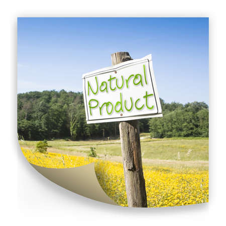 """Signboard in the countryside with written """"Natural Product"""" on it - concept image"""