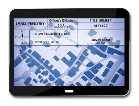 Land registry concept image with an imaginary cadastral map of territory - Property Tax on buildings with land parcel and land registry document on a digital tablet - 3D rendering. Reklamní fotografie