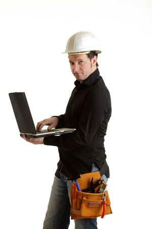 Constructor with laptop Stock Photo - 6699025