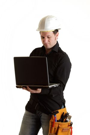Constructor with laptop photo