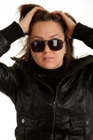 rocker girl: Chica de rockero Foto de archivo