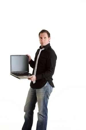carreer: Businessman with laptop
