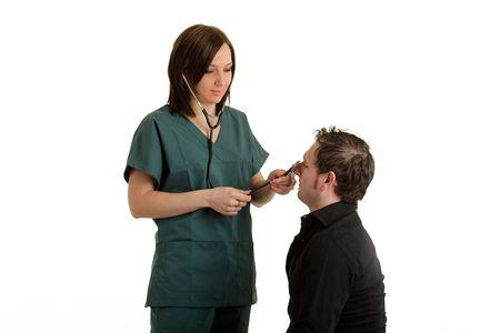 affraid: Medical Checkup Stock Photo