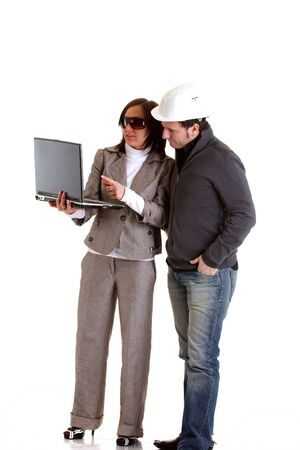 posing  agree: Architect with constructor Stock Photo