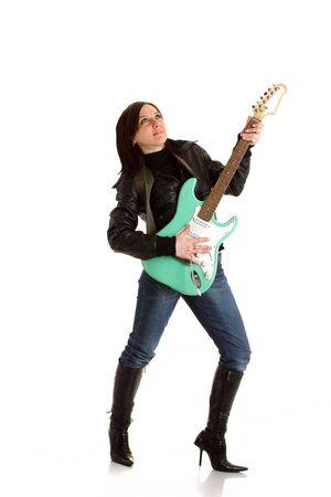 rocker girl: Rocker chica con guitarra
