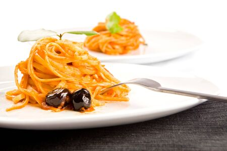 puttanesca: spaghetti with olives and tomatoesauce