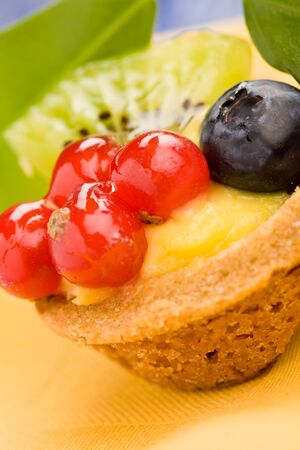 fillings: pastries with currants and blueberries Stock Photo