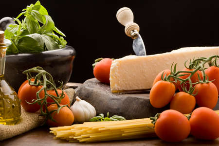 cooking ingredients: photo of ingredients for coocking spaghetti with tomatoe sauce