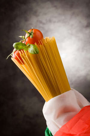 photo of italian spaghetties with italian flag wrapped arround Stock Photo - 9099937