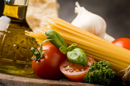 photo of different ingredients for preparing pasta with tomato sauce Stock Photo - 9098982