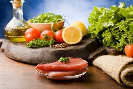photo of raw tuna steak with ingredients arround  Stock Photo - 9194333