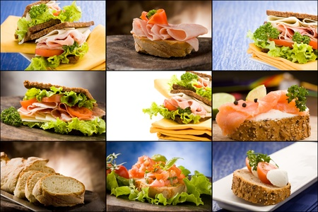 sandwiches: set of different sandwich photos putted together as a collage Stock Photo