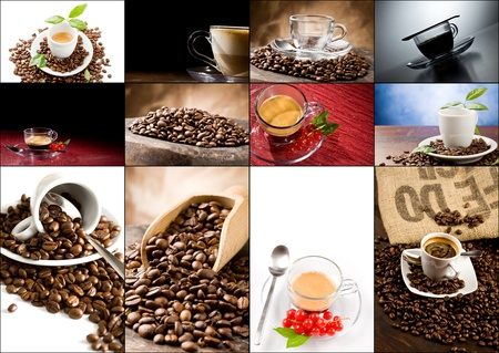 set of different cofee photos arranged together into a collage photo