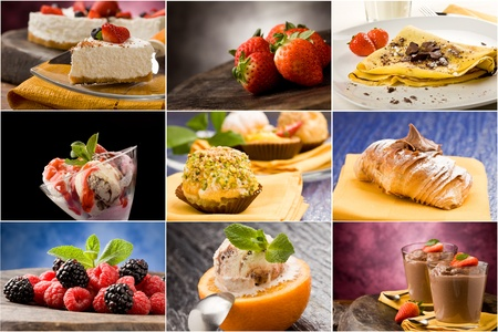 set of different dessert photos arranged together into a collage photo