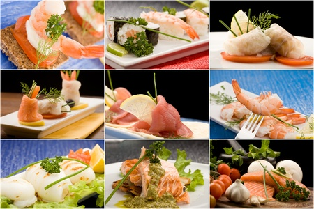 antipasto: set of different fish photos arranged together into a collage Stock Photo
