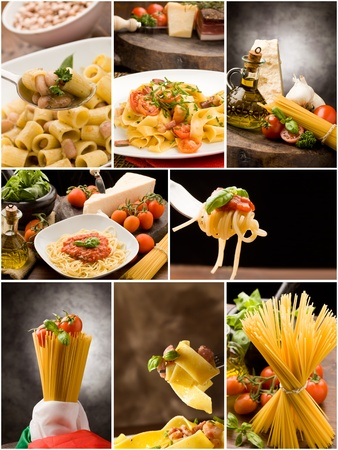 set of different pasta photos arranged together into a collage Stock Photo