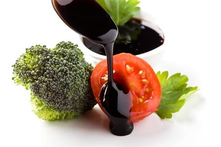 photo of organic ingrediens on white isolated background