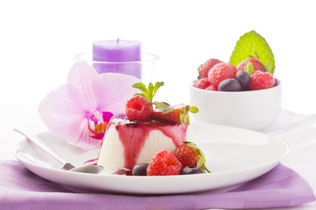 panna: photo of delicious panna cotta dessert with berries