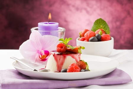 photo of delicious panna cotta dessert with berries Stock Photo - 9316819