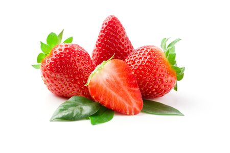 toast bread: delicious strawberries on green leaves on white isolated background