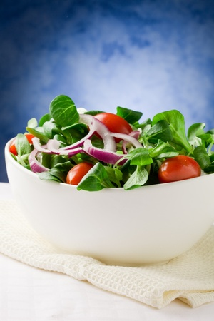 Colorful mixed salad inside a bowlo on white towel in front of blue background