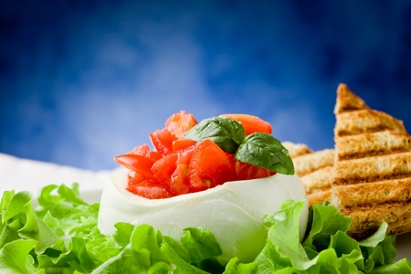 stuffed buffalo mozzarella with tomatoes and basil on lettuce over blue background Stock Photo - 9512689