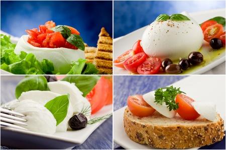 different tomato mozzarella appetizers arranged into a collage photo