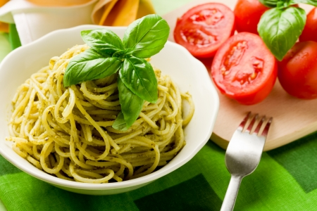vegetarian cuisine: delicious italian pasta with pesto sauce