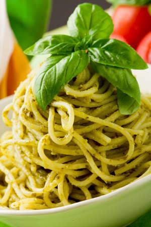 delicious italian pasta with pesto sauce Stock Photo - 9703635