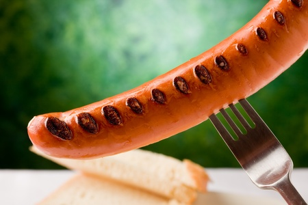 photo of delicious grilled hot dog with sauerkraut and bread, photo