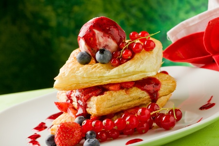 photo of delicious puff pastry with berries and ice cream Stock Photo - 9960246