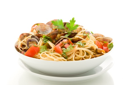 photo of delicious pasta with clams on white isolated background