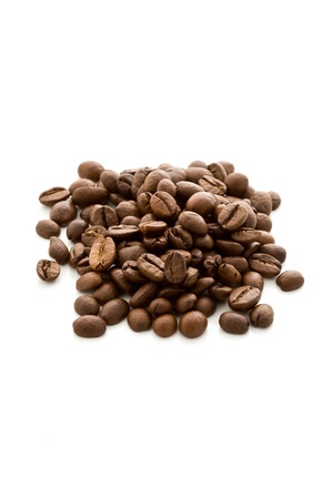 delicious coffee beans on white isolated background Stock Photo