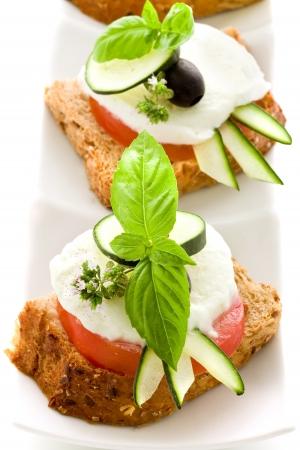 delicious tomato mozzarella starter isolated white background photo