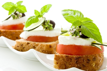 bruschetta:  delicious tomato mozzarella starter isolated white background