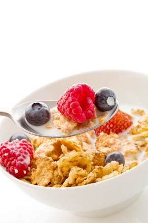 zeberdelicious breafast isolated on white made of corn flakes with berries and fresh milk photo