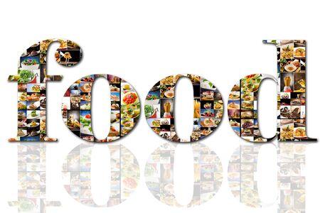 carnes: foto de un texto de alimentos compuesta por imágenes de diferentes alimentos