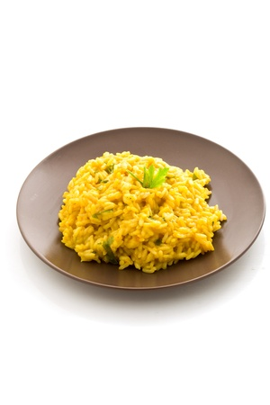 isoalated: photo of delicious risotto with saffron on isoalated background Stock Photo